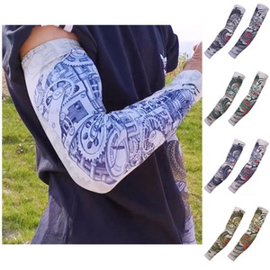 Summer UPF50+ Coolers Floral Arm Tattoos Long Sleeve High Elasticity Sunscreen and Windproof Arm Sleeves for Outdoor Sports Riding Jogging