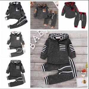 Bebek Ekose Clothings Çocuk Ekleme Yün Kapşonlu Ekose Çiçek Pantolon 2 adet Moda Boy Kız Spor Kış Isınma Giyim WY82Q-1 Tops ayarlar