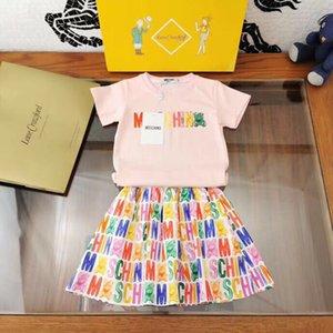 meninas ocidentais equipar 2pcs meninas de verão conjunto de roupas de manga curta set top saia