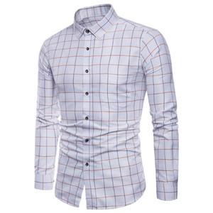 Camisa dos homens camisa de manga longa de Mens Long Sleeve Oxford formal Casual Plaid Slim Fit Camisas de vestido Top camisa masculina chemise homme M-5XL