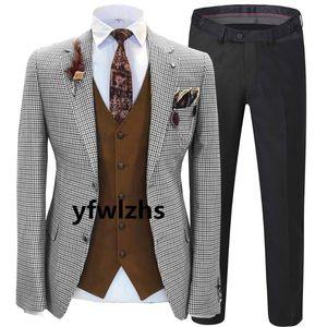 New Arrival Two Buttons Groomsmen Notch Lapel Groom Tuxedos Men Suits Wedding Prom Best Man Blazer ( Jacket+Pants+Vest+Tie) B141