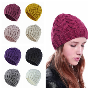 Sombreros de punto para mujer Moda Dama Keep Warm Manual Knit Beanie Hats Outdoor Girls Warm Camping Caps Causal Ski Cap TTA1551