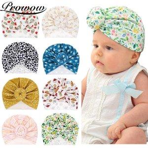 PROWOW Baby-Mädchen-Turban Cap Printed Knot-Verpackungs-Kappen Babyzubehör Neugeborene Fotografie Props Weiche Kinder Beanies Mädchen Kappen