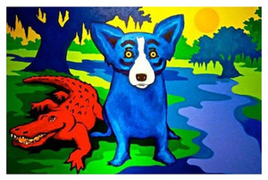Venta caliente George Rodrigue Blue Dog Animal Hola calidad HD lienzo de la lámina pared del arte de la pintura sobre lienzo Decoración de múltiples opciones de los tamaños de marco 174