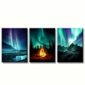 3 Piece Canvas Prints Northern Light Canvas Wall Art Green Aurora Nature Iceland Landscape Poster for Home Bathroom Bedroom Decor