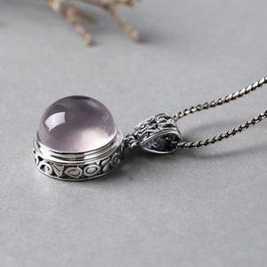 Big Natural Gemstone Rose Quartz Pendants For Women Beautiful Vintage 925 Sterling Silver Crystal Jewelry Colar Feminino