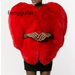 À moda vermelho 3D coração do amor dado forma Cabo Faux Fur Grosso Quente celebridade Mulheres Long Cabeludo Shaggy revestimento do revestimento Casacos Inverno Top
