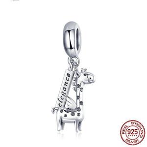 Eleganz Neues authentischen 925 Sterling Silber Charm Schöne Giraffe Tier-Charme-Korn-passende Vorlage Braceletmaking