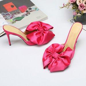 HKXN New 2020 Womens Sandals Summer Fashion Bow Apontado Flores Sandálias sapatos de salto alto Sandalia T02