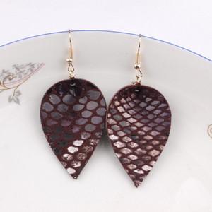 FASHION- peau de serpent Imprimer Feuille Pu Boucles d'oreilles en cuir pour femmes Bijoux Bohême 2019 Mode Printemps Feuilles Cuir Goutte Eariings