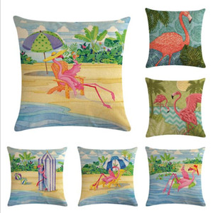 Flamingo Series Flax Pillow Covers and Cushion Covers 45*45cm cotton and linen printed pillow covers Flamingo pillow