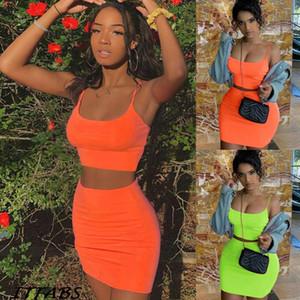Kadın Tank Mahsul Etek Kıyafetler İki Adet BODYCON Bandaj parti Mini Dress