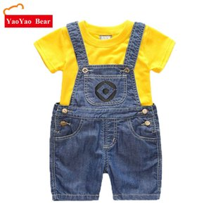 Garçons Filles Ensemble Denim Shorts Enfants Costume Enfants Vêtements T Shirt 2pc Minions Vêtements D'été Enfants Enfant Roupas Menino 1-7Y SH190907