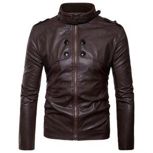 Satınalma Ajanlar Avrupa Ve Amerika İngiltere Erkek Kabanlar Palto Erkek Giyim Coat Slim Fit Deri Ceket Locomotiv Yaka Standı