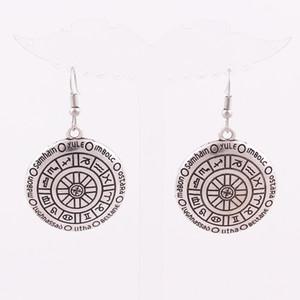 HY063 Talisman Retro Pagan Boucles d'oreilles Bijoux ton or Bronze ou Argent Sigil de GABRIEL Pendentif boucles d'oreilles pour les femmes cadeau en gros