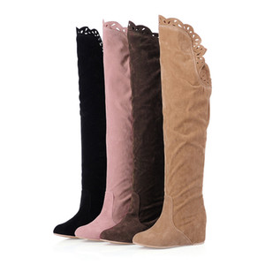 shoes woman fashion boots zapatos de mujer Women Wedges Shoes Retro Over-The- Knee Boots Ladies Elasticated High-Tube Boots
