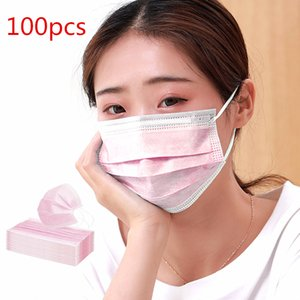 FREE SHIPPING! 50 100 200 Pcs 3 Ply Disposable Face Masks Pink Color Non-woven Breathable Mask with Elastic Ear Band Face Masks