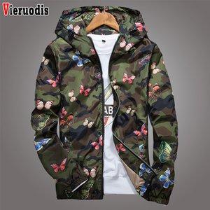 의류 남성 후드 윈드 브레이커 코트 남성 인쇄 봄 고품질 남성 여성 여름 카모 윈드 브레이커 자켓 가을 나비