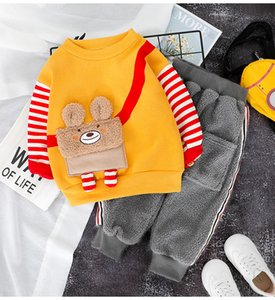 0-4 Years Winter Boy Girl Clothing Set 2019 Casual Thicker Warm Cartoon Cute Kid Suit Children Baby Clothing Hoodies+Pant 2pcs
