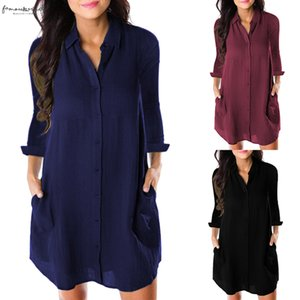 Women Loose Solid Dresses Turn Down Casual Ladies Office Shirt Dresses Button 2020 Summer Spring Long Sleeve Dresses Vestidos
