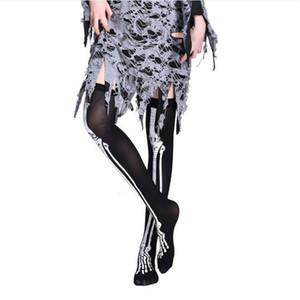 2020 nueva marca de Halloween Stocking mujeres Esqueleto del palo de impresión gótica trajes de carnaval Medias partido de Cosplay Más de media rodilla