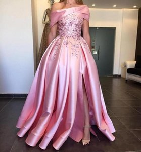 2020 New Luxury A Line Prom Dresses Off Shoulder Appliques Beads Ruffle Side Split Backless Plus Size Dubai Style Party Gowns Evening Dress