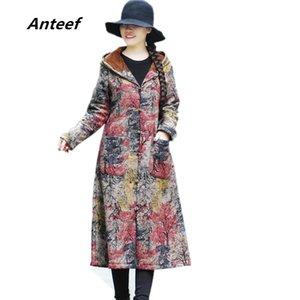 Anteef плюс размер хлопок старинные цветочные печати одежда повседневная длинные свободные осень зима куртка с капюшоном женщин пальто 2018 верхняя одежда