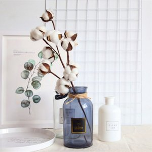 10PCS LOT DIY Naturally Dried Cotto· Stems Farm house decorative dried Artificial White Cotton Branch Artificial Flower Head