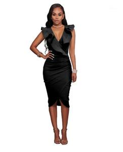 Tasarımcı Elbise Katı Renk Ruffled Kalem Elbise Casual Kadın Giyim Yeni Bayan Seksi Derin V Boyun Womens