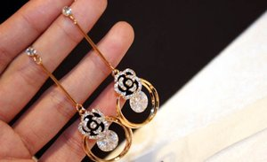 Súper brillante colgante Drop Stud para Zircon Camellia Luxury Long Flower Pendientes de moda Dangle Designer! Chandelier mujer chicas xibjv