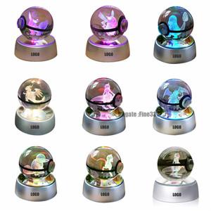 Forniture natalizie 3D K9 Crystal Magic Ball LED Lampada Pokemens Series ikachu / Gengar / Jigglypuff Figrye Figure Giocattoli Decorazione desktop Light