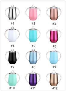 copos xícara de aço inoxidável 10 onças com punho isolado crianças otário Cup Crianças copos de bebida treinando copos crianças garrafa de leite Caneca