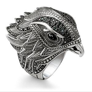 Hip Hop Kişilik Retro Takı 925 Gümüş Moda Kartal Yüzük Kadın Düğün Kuş Düğün Band Yüzük İçin Erkekler Hediye