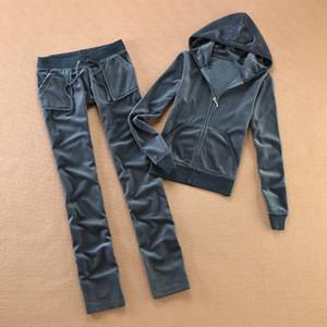 Marca Velvet Mulheres Tecido Fatos Velour Suit Mulheres Pista Hoodies terno e calças de safira