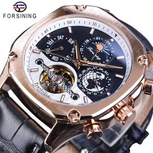 Forsining luxe d'or mécanique Montres Hommes Place Automatique Moonphase Tourbillon Date de véritable bande de cuir Montre bracelet cadeau