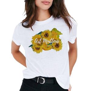Оптовая продажа 2020 лето Ван Гог картина маслом искусство печати футболка смешные женские с коротким рукавом amazon AliExpress топы
