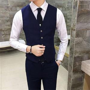 Traje delgado del chaleco sin mangas de moda para hombre de color sólido de abrigo Hombre Ropa para hombre de negocios