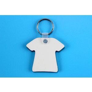 Comerci 100 pc fai da te MDF due lati ha stampato la maglietta vuota catena chiave di Keychain di trasferimento di sublimazione di legno Ornamento Per pressa di calore di stampa