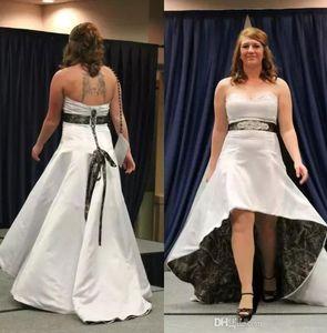 Vintage New Camo Plus Size Hi-Lo vestido de casamento Sweet Heart Backless Cristal Sash curto Country Garden Praia vestidos de noiva baratos