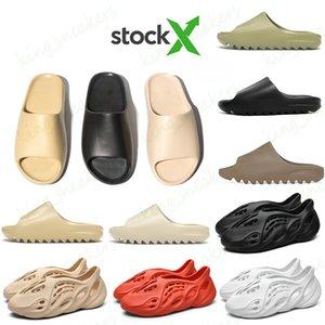 Stock X Foam Runner Mens Luxury designer Slippers Kanye West Resin Slides volcano Desert Sand Triple Black mens womens slipper Sandal