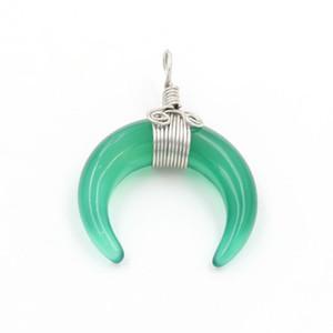 En gros 10 pcs populaire Argent Plaqué Wire Wrap corne forme vert Agate pendentif Labradorite pierre bijoux