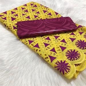 Guinea africana Bazin Brocade Fabric damasco de Femme Robe Nueva Bazin Riche Brode con Swiss encaje de algodón 5yards / lot BT30
