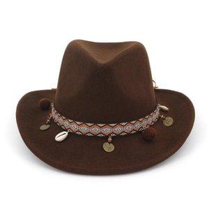 Europäische US Wide Brim Wollfilz Jazz Bowler-Hut Western-Cowboy-Cowgirl-Hüte mit Leder verziert Trilby Fedora für HF121