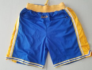 New Shorts Team Shorts Vintage Baseketball Shorts Zipper Pocket Running Clothes Blue Color Just Done Size S-XXL