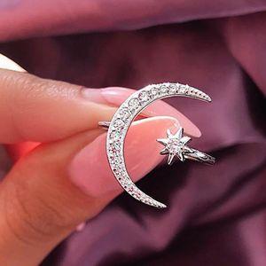 2019 neue Art und Weise Ring-Mond-Stern Dazzling öffnet Finger-Ring für Frauen-Mädchen-Schmuck reines Hochzeit Verlobung Schmuck Geschenke