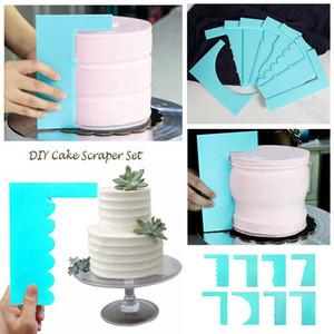 8pcs / set 8 mezclaron la torta de crema de pasteles raspador filo liso suave Pulidora espátula la pasta de azúcar que adorna el molde de la hornada Mousse de suministro