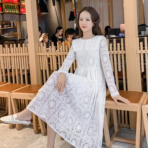 Pregnant Women Hollow Out Lace Dress With Lining Long Sleeve Large Turn-Down Collar Maternity Cotton Dress Sweet Wedding