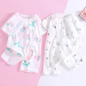 Baby Jumpsuit Summer Thin Baby Cotton Short Sleeve Open Romper Newborn Ha Clothes Childrens Clothing Wholesale