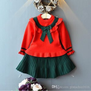 Girl's autumn suit new Korean children's spring and autumn knitted jacket sweater short skirt two-piece size 90cm-120cm