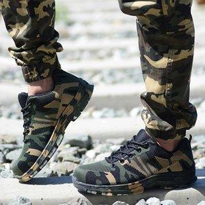 Hommes Chaussures de travail en acier Toe Cap Homme Travail Bottes de sécurité Camouflage Army Green Proof Bottes Crevaison Zapatos de segurida